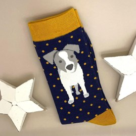 Men's Bamboo Jack Russell Pup Socks In Navy
