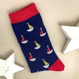 Men's Bamboo Little Boats Socks In Navy