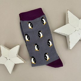 Men's Bamboo Little Penguins Socks in Grey