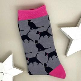 Men's Bamboo Lucky Cat Socks In Grey