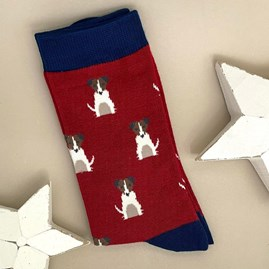 Men's Bamboo Mini Jack Russells Socks In Red
