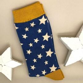 Men's Bamboo Stars Socks In Navy