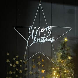 'Merry Christmas' Silver Star Hanging Decoration