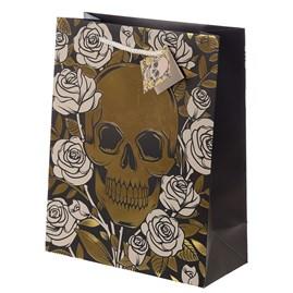 Metallic Skulls & Roses Gift Bag - Large