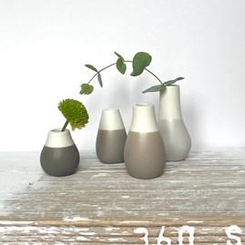 Mini Glazed Vases Set of 4 Grey Tones