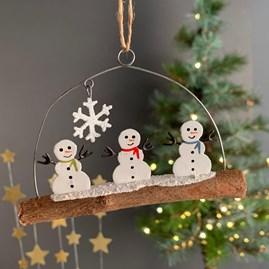 Mini Snowmen On A Stick Hanging Decoration
