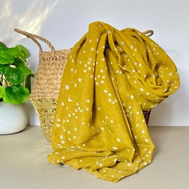 Mustard Scarf with Silver Small Moon and Stars Print
