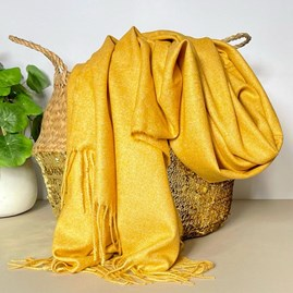Mustard Tassel Blanket Scarf