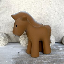 Natural Rubber Rattle & Bath Toy Horse