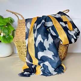 Navy Blue and Mustard Abstract Stripe Scarf with Colour Block Border