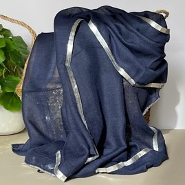 Navy Blue And Silver Edged Scarf