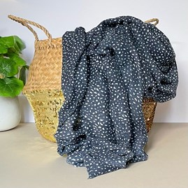 Navy Blue Scarf with Animal Print