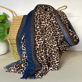 Neutral and Blue Leopard Print Border Scarf
