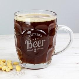 Personalised Beer Badge Dimple Pint Glass Tankard