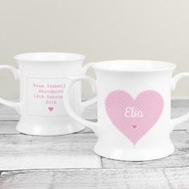 Personalised Children's Pink Christening Loving Mug