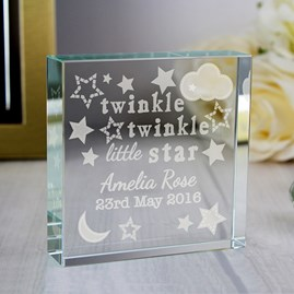 Personalised Child's 'Twinkle Twinkle' Crystal Block