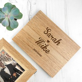 Personalised Name And Heart Midi Oak Photo Cube