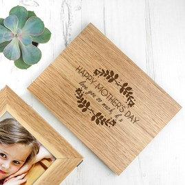 Personalised Happy Mother's Day Midi Oak Photo Cube
