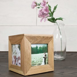 Personalised Small Oak Photo Cube