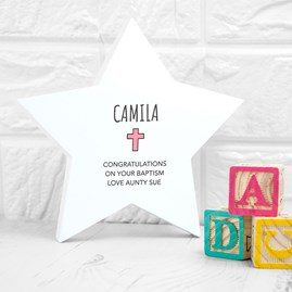 Personalised Christening Star Keepsake In Pink