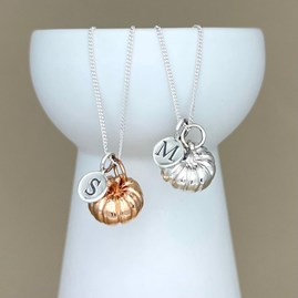 Personalised Large Pumpkin Sterling Silver Necklace