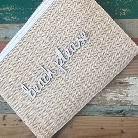 Katie Loxton Personalised Woven Straw 'Beach Please' Pouch