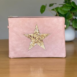 Pink Clutch or Cross Body Bag with Copper Glitter Star