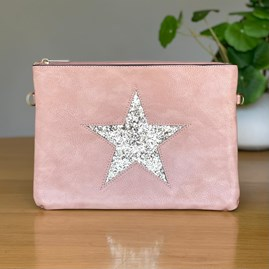 Pink Clutch or Cross Body Bag with Silver Glitter Star