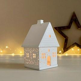 Porcelain Gingerbread House Snowball Tealight Holder