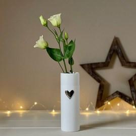 Porcelain Silver Love Heart Vase