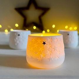 Porcelain Tealight Holder with Stars