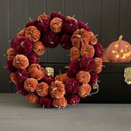 Pumpkin Halloween Wreath In Burgundy And Gold