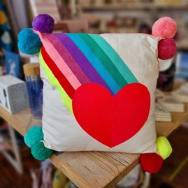 Rainbow Burst with Heart Embroidered Square Cushion