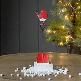 Robin on a Spade Christmas Decoration