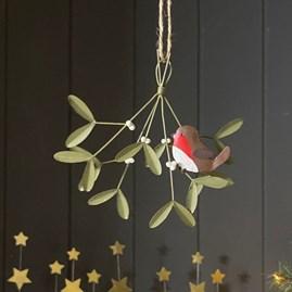 Robin on Mistletoe Hanging Decoration