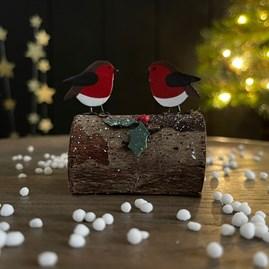 Robin Yule Log Christmas Decoration