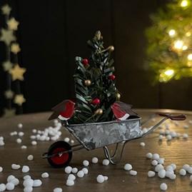 Robins on a Wheelbarrow Christmas Decoration