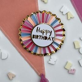 Rose Gold 'Happy Birthday' Badge