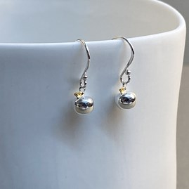Sterling Silver And Gold Apple Charm Earrings