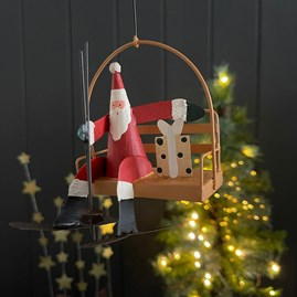 Santa in a Chair Lift Hanging Decoration