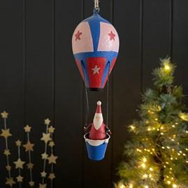 Santa in his Hot Air Balloon Hanging Decoration