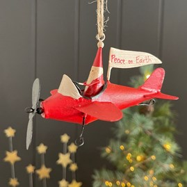 Santa in his Red Airplane Hanging Decoration