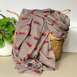 Sausage Dogs Print Scarf in Grey