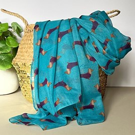 Sausage Dogs Print Scarf in Teal