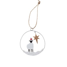Sheep Under a Star Hanging Decoration
