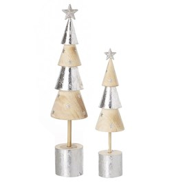 Silver & Wood Cone Tree Set of 2