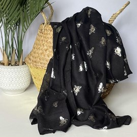 Silver Metallic Bees Scarf in Black