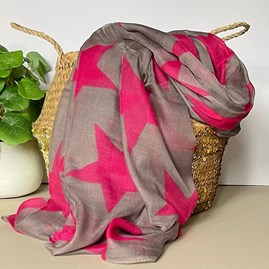 Simply Stars Scarf in Grey and Pink