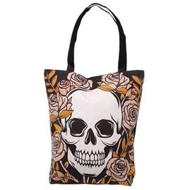 Skulls & Roses Reusable Zip Up Cotton Bag