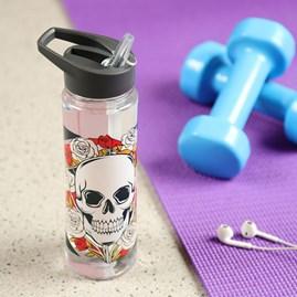 Skulls & Roses Reusable Plastic Water Bottle with Flip Straw